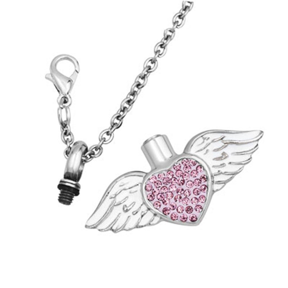 JewelryHouse Urn Necklace of Ashes Angel Wings Miss You Forever Cremation Memorial Keepsake Stainless Steel Pendant