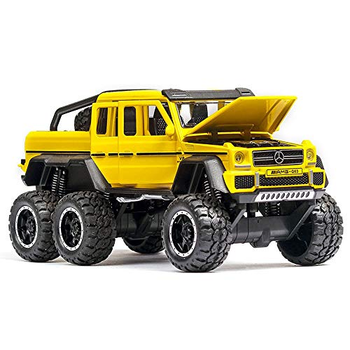 (Bseion Six-Wheeled Off-Road Vehicle 1:32 Alloy Simulation Car Model Sound and Light Pull Back Car Friction Inertia Toy Car Children's Birthday (Color : Yellow ))