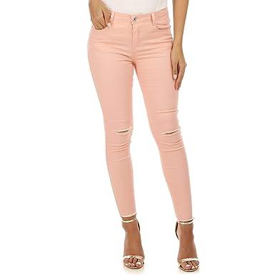 La Modeuse - Pantalones Vaqueros Finos, Color Rosa: Amazon ...