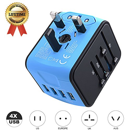 International Travel Adapter JMFONE Universal Power Adapter 4 USB Wall Charger Worldwide Travel Charger Universal AC Wall Outlet Plugs for US, EU, UK, AU 160 Countries (Blue)