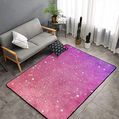 LIN. Pink Glitter Pattern Kitchen Rugs Memory Foam Doormat Floor Mat with Non-Slip Rubber Backing, Quick Dry Tub Shower Bath Rug Standing Mat Home Art Ultra-Soft Standing Mat