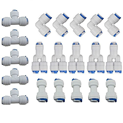 Fittings Filter (Lemoy 1/4 inch OD Quick Connect Push In to Connect Water Tube Fitting Set Of 20 (Y+T+I+L Type Combo))