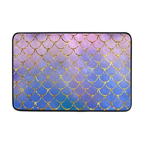 ZOEO Bath Mat Non Slip Super Absorbent Purple Mermaid Scales Marble Fish Light Summer Gold Bathroom Rug Indoor Carpet Doormat Floor Dirt Trapper Mats Shoes Scraper 24x16 inch ()