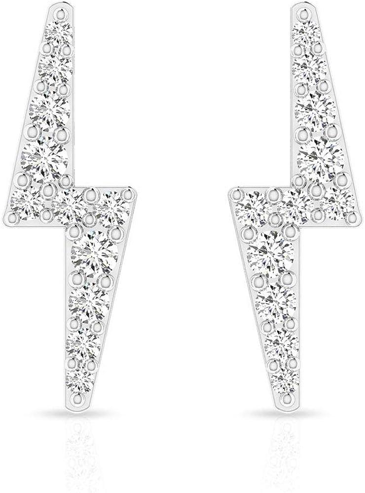 Pendientes de diamante certificado IGI de 0,18 ct en zig-Zag, para mujer, iluminación de cumpleaños, aniversario, IJ-SI, hecho a mano, para dama de honor, tornillo hacia atrás