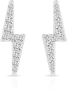 0.18 CT Zig-Zag Pave IGI Certified Diamond Stud Earring, Women Lighting Bolt Birthday Anniversary Earrings, IJ-SI Diamond Handmade Bridesmaid Earrings, Screw Back