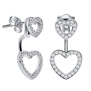 """Amazon.com: J.Rosée Sterling Silver Double Hearts """"2 Way"""