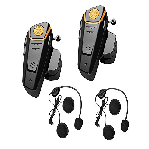 2 x 800m Water Resistant Bluetooth Motorcycle Motorbike Helmet Intercom Interphone Headset for 2 or 3 riders and 2.5mm Audio for Walkie Talkie MP3 player GPS - Hands Free & FM radio