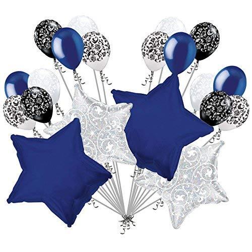 20 pc Navy Blue Stars & Filigree Balloon Bouquet Wedding Baby Shower Bridal ()