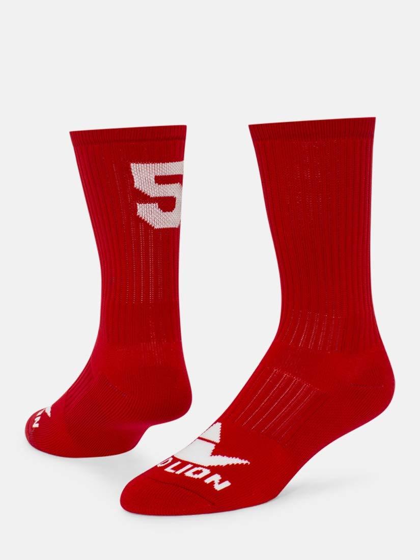 数クルーソックス B00LFVUUCG Red / White # 5 Medium