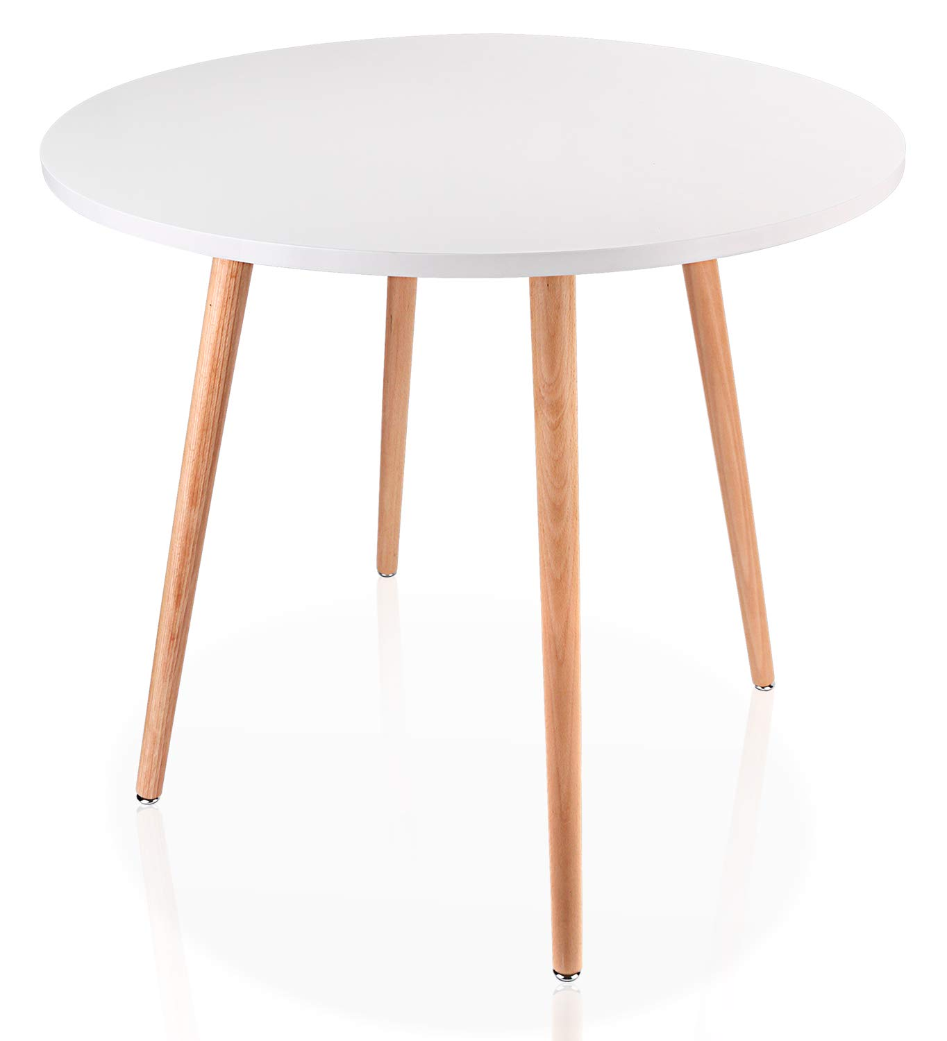 Leopard Coffee Table - White Round Top Kitchen Dining Table with 4 Wood Legs Leisure Wooden Tea Table Office Conference Pedestal Desk- 31.5'' (Diameter)