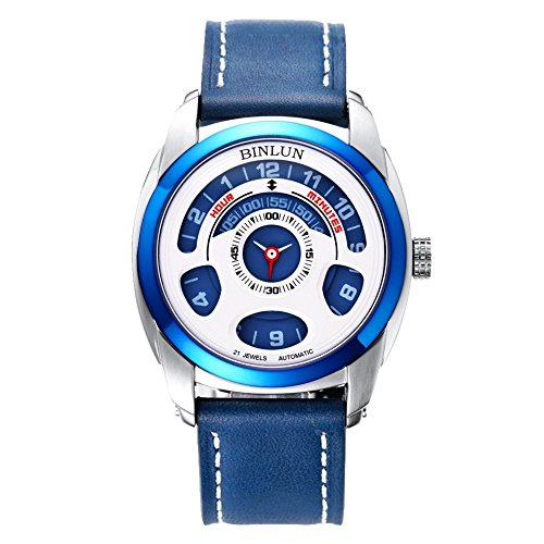 BINLUN Men's Automatic Mechanical Unique Cool Futuristic Wrist Watch Water Resistant Leather Straps Black (Blue)
