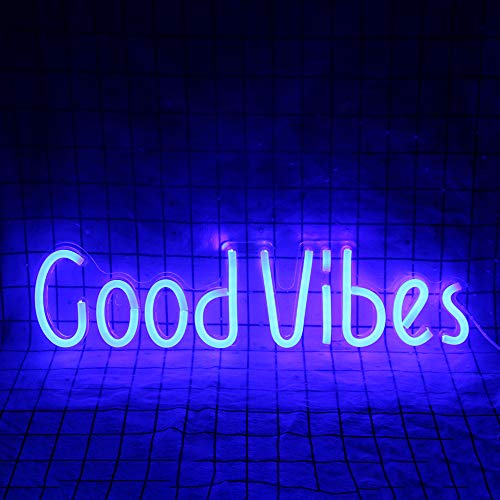 Good Vibes Neon Signs Good Vibes Words Neon Lights for Room Decor Light Lamp Bedroom Beer Bar Pub Hotel Party Restaurant Recreational Game Room Wall Art Decoration(19.6''×4.9'')