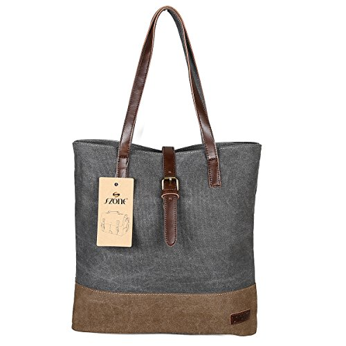S-ZONE Women's Fashion Canvas Shoulder Handbag 14-inch Laptop Tote Bag