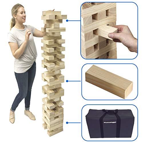 [해외]easygo 거 대 한 스택 & 회전식 고 거 대 한 나무 스태킹 이상 5 피트 높이에 큰 스택을 무거운 의무 더 플 캐리 가방 XX를 포함 하는 회전식 타워 블록 게임 / EasyGO Giant Stack & Tumble Giant Wood Stacking & Tumble Tower Blocks Game Includ...