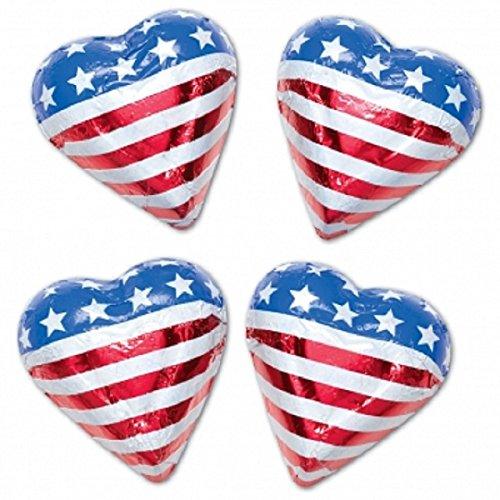 Patriotic American Flag Mini Milk Chocolate Hearts - 1/2 Pound Bag