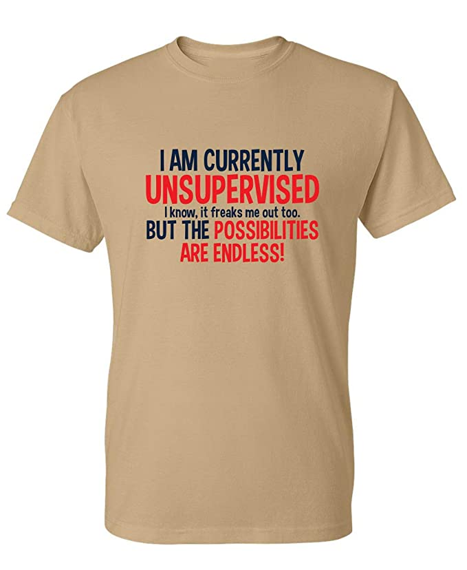 02cd0b88 Amazon.com: I Am Currently Unsupervised Adult Humor Novelty Graphic Sarcasm Funny  T Shirt: Clothing