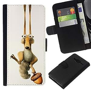KLONGSHOP // Tirón de la caja Cartera de cuero con ranuras para tarjetas - ICE DIVERTIDO DE LA HISTORIETA ARDILLA - Samsung Galaxy Core Prime //