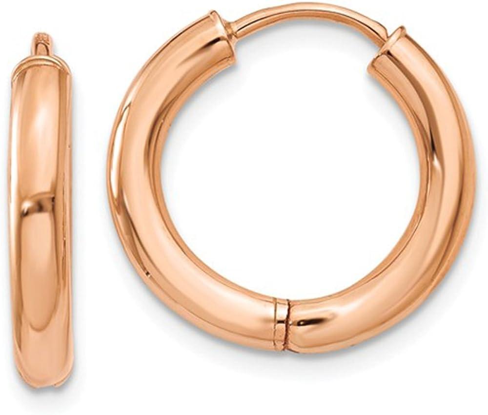 Mens Ladies 14k Rose Gold Polished Hollow Huggie Hoop Earrings 14mm x 2.5mm