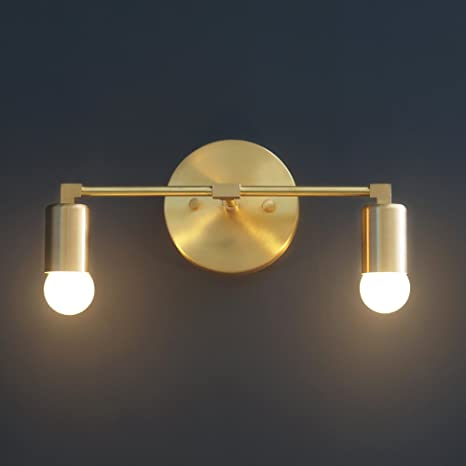 newest bc4d7 6074e Modern Brass Double Light Wall Sconce Vanity Brass 2 Bulb Bathroom Sconce