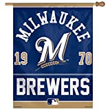 MLB Milwaukee Brewers Logo/Year Established Vertical Flag, 27 x 37-Inch