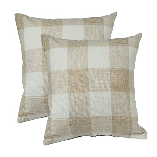 TEALP Plaid Throw Pillow Cover Linen Cotton Decorative Pillow Case Home Sofa Cushion Set,2-Pack Square Design (18x18 inch),Beige and White
