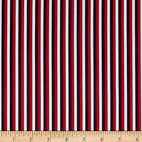 Fabric & Fabric QT s Red White & Blue Stripe Red/Navy, Fabric by the Yard ()