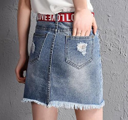 Dress Women Jean Holes Light Blue Summer A Ripped Sexy line Pencil Coolred 6dzWqwOnq