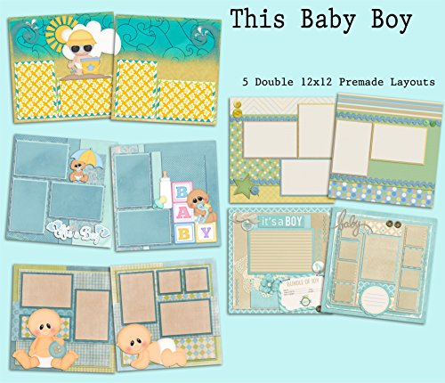 This Baby Boy Scrapbook Set - 5 Double Page Layouts