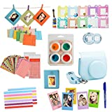Fan Le Mini 8 Bundles Set For Fujifilm Instax Mini 8 Instant Cameras ( Blue Case/Album/Selfie Lens/Colored Filters/Wall Hang Frames/Film Frames/Border Stickers/Corner Stickers/Pen,10 Accessories)
