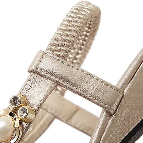 AalarDom Mujer Sin cordones Puntera Dividida Mini Tacón Pu Sandalias de vestir Gold-4G