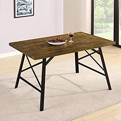Olee Sleep Wood and Metal Tall Dining Table, Brown - It can be function as dinning table, coffee table,cocktail table. Natural pine wood Top and strong Steel legs for durability. Stylish design fits for any room or yard. - kitchen-dining-room-furniture, kitchen-dining-room, kitchen-dining-room-tables - 51%2BNhg0YZbL. SS400  -