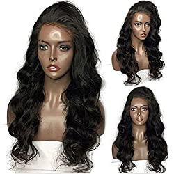 Luduna 150% Density Brazilian Human Hair Body Wave Virgin Hair Glueless Lace Front Wigs with Baby Hair 8a 100% Unprocessed Pre Plucked Human Hair Lace Front Wig for Black Women (20'', Natural Color)