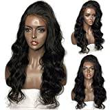 Luduna Human Hair Wigs Brazilian Glueless Body Wave Lace Front Wigs with Baby Hair Brazilian Virgin Remy Hair 130% Density Pre-Plucked Lace Front Human Hair Wigs for Black Women (18'', Natural Color)