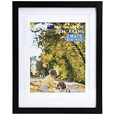 Beyond Your Thoughts Wood + Real Glass (Hang/Stand) 8X8 Black Picture Photo Frame with Matted for 4X4 Photo for Wall and Table Top-Mounting Hardware Included(1 Pack)