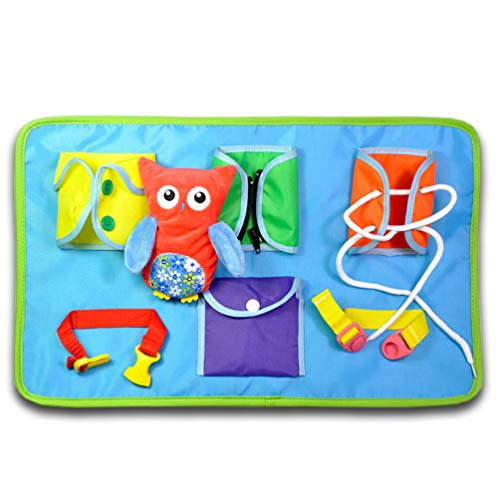 YIISUN Toddlers Early Learning Basic Life Skills Toys Quiet Book Montessori Learn to Dress Boards- Button,Zip,Lace,Snap,Buckle,and Snap Button,Educational Toy for Baby