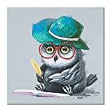 JAPO ART - Modern Animal 100% Hand Painted Oil Painting with Stretched Frame Wall Art for Living Room Ready to Hang (Owl is Writting, 24 x 24 Inch)