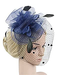 Amazon.com  Cocktail Party Fascinator For Woman Veil Flower Feather ... 931f60d85c7