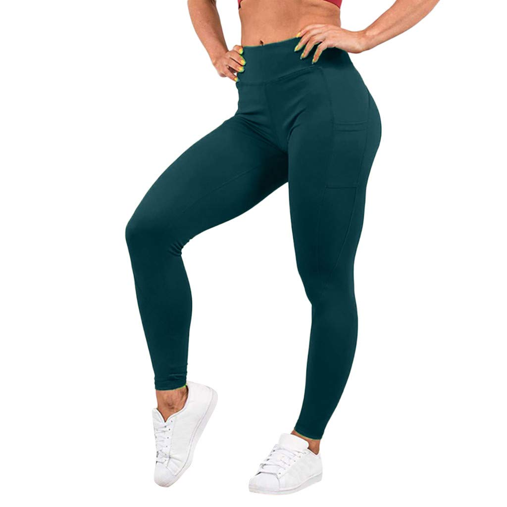 Pervobs Women's Elastic High Waist Workout Leggings Fitness Sports Gym Running Yoga Athletic Pants(S, Green)