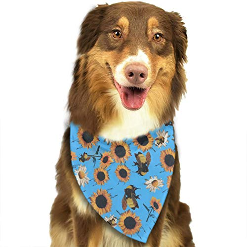 (Pet Scarf Dog Bandana Bibs Triangle Head Scarfs Sunflower Bee Painting Accessories for Cats Baby)