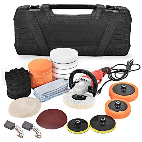 Goplus 7 Inch Electric Car Polisher 6 Variable Speed Buffer Waxer Sander Detail Boat w Case Complete Set