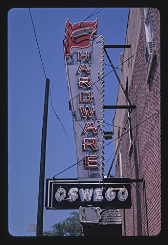 24 x 16 Ready to Hang Gallery Wrapped Fine Art Canvas Print of: Oswego Hardware Sign, Washington Street, Oswego, Illinois 2003 Roadside Americana, J Margolies 25a by Vintography
