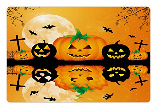 Ambesonne Halloween Pet Mat for Food and Water, Spooky Carved Halloween Jack o Lantern and Full Moon with Bats and Grave Lake, Rectangle Non-Slip Rubber Mat for Dogs and Cats, Orange Black -
