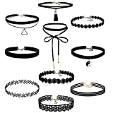 10 PCs Choker Necklace Set, Doinshop Stretch Velvet Classic Gothic Tattoo Lace Choker