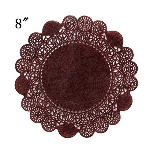 (PEPPERLONELY 8-Inch Brown Glassine Paper Doilies, 50PC)