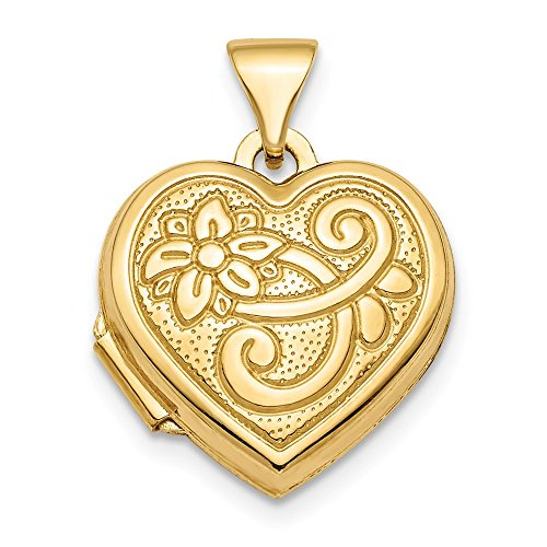 Solid 14k Yellow Gold Polished Patterned 15mm Heart Locket