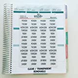 Clear Transparent Days of the Week Planner Stickers