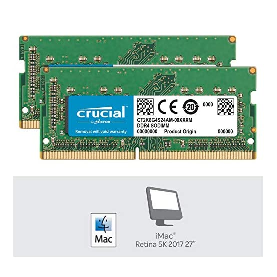 Crucial 16GB Kit (8GBx2) DDR4 2400 MT/s (PC4-19200) SR x8 SODIMM 260-Pin for Mac - CT2K8G4S24AM 51%2BNjUtGJoL. SS555