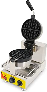 TECHTONGDA Commercial Nonstick Waffle Electric Rotated Belgian Waffle Maker Iron Machine with Precision Template 110V #022474