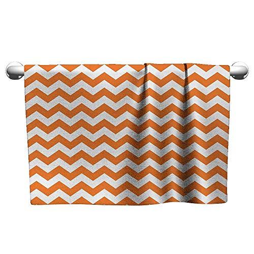 (alisoso Chevron,Hand Towel Halloween Pumpkin Color Chevron Traditional Holidays Autumn Season Celebrate Hotel Pool Towels Orange White W 28