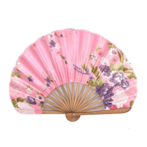 uxcell Bamboo Frame Silk Blend Ladies Flower Prints Folding